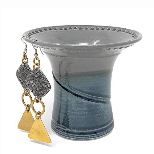Vase Slate - Barb Lund Pottery Earring Holder, Gray/Slate