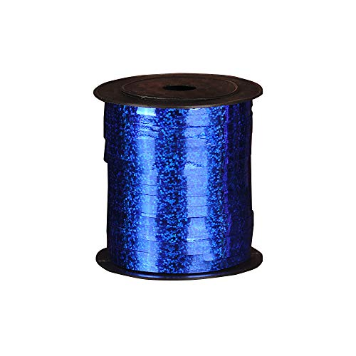 GerTong 1PCS 250 Yards Shining Laser Curling Ribbon Metallic Balloon Roll for Wedding Party Festival Art Craft Decor and Wrapping (Blue)