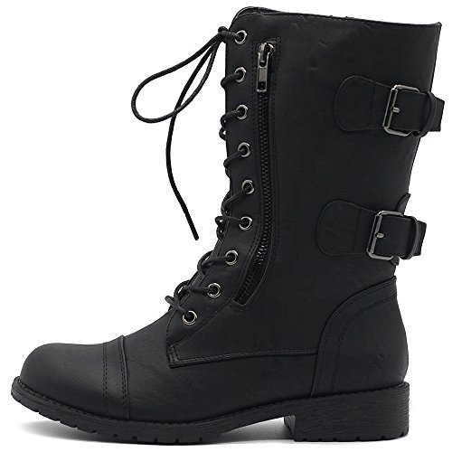 Ollio Women's Shoes Faux Leather Buckle Zipper Accent Lace Up Combat Ankle Boots TW00B01 (10 B(M) US, (Leather Buckle Boot)
