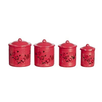Dollhouse Miniature Canisters, Set of 4 with Removable Lids, Red #IM65331: Toys & Games