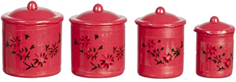 Set of 4 Tiny White Canister Cookie Jar with removable lid  Dollhouse Miniatures