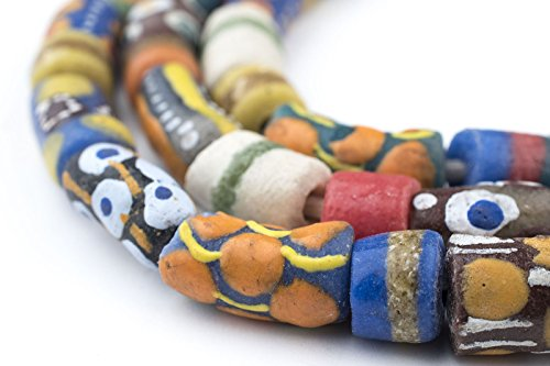 TheBeadChest Painted African Krobo Beads - Full Strand of Ghanaian Tribal Glass Beads for Necklace or Jewelry Making (Tribal Cylinder Medley) - Old Venetian Trade Beads