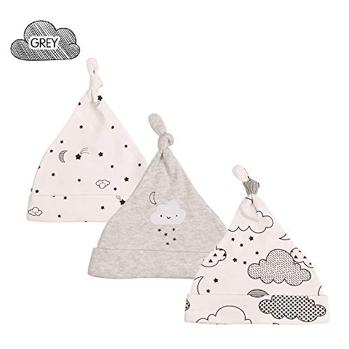 XIAOHAWANG Baby Girls Boys Adjustable Top Knotted Caps 3 Pack Newborn Cotton Hats Infant Baby Stretchy Beanies Cute Cartoon (Grey Cloud Pack of ()