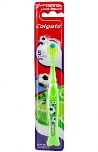 Colgate cepillo de dientes de los niños 5 + extraordinariamente suave, motif fútbol, verde