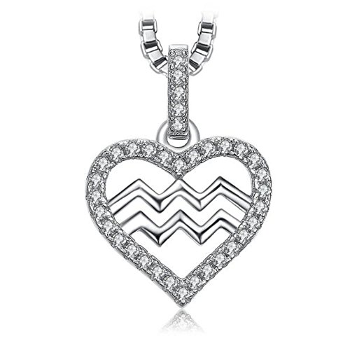 VERA NOVA JEWELRY Aquarius Zodiac Sign 0.2Ct Cubic Zirconia 925 Sterling Silver Pendant Necklace