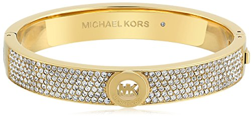 Michael Kors Gold Tone Pave Fulton Hinge Bangle Bracelet