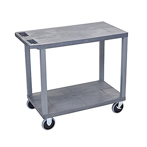 LUXOR EC22HD-G Cart with 2 Flat Shelves, 18