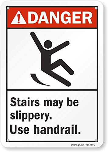 "SmartSign ""Danger - Stairs May Be Slippery. Use Handrail"" Sign 