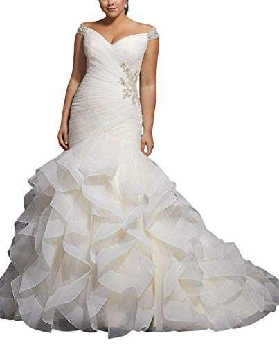 APXPF Women's Cap Sleeves Beaded Pleats Mermaid Wedding Dresses Organza Bridal Gown Plus Size White US20 ()