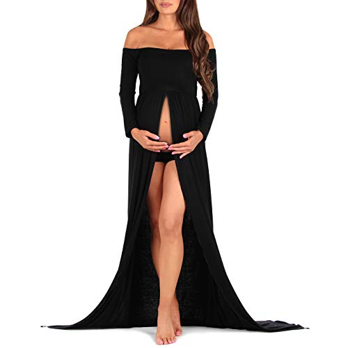 f Shoulder Maternity Gown for Photo Shoots,Black,Large ()