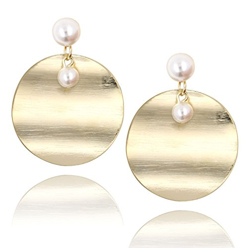 14K Gold Large Round Disc Dangle Drop Earrings Brushed Metal Pearl Stud Fashion Earring for Women Girls