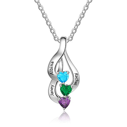 Love Jewelry Personalized 3 Heart Simulated Birthstone Mothers Pendant Necklace with 3 Names Family Pendants for ()