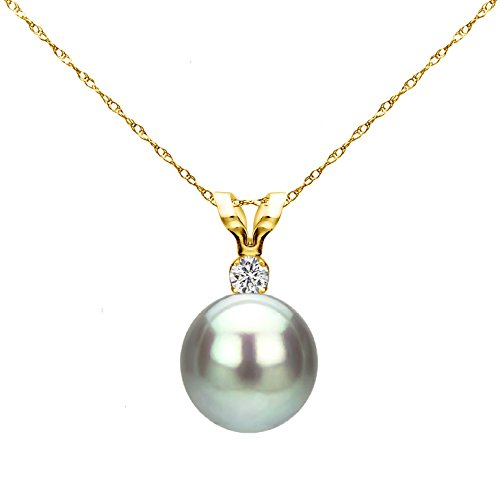 14k Yellow Gold 7-7.5mm Dyed-grey Round Freshwater Cultured Pearl Bunny Pendant 1/100cttw Diamond, 18