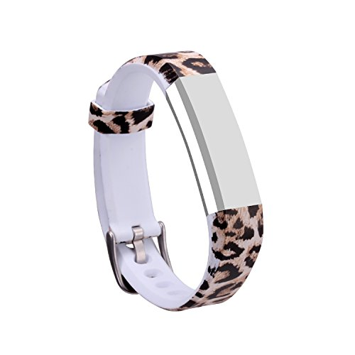 I-SMILE Newest Replacement Wristband with Secure Clasps for Fitbit Alta Only(No Tracker, Replacement Bands Only) (Leopard Print)