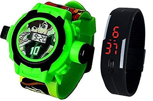 (Pappi-Haunt - QUALITY ASSURED - Kids Special Favourite Toys - Pack of 2 - Benton ( BEN 10 ) Projector Band Watch + Jelly Slim Black Digital Led Band Watch for Kids, Children)