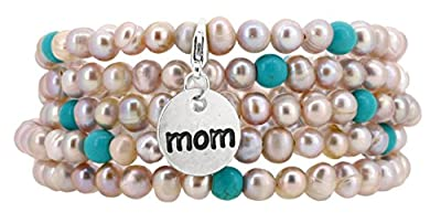 Freshwater Cultured Pink Pearls Wrap Around Bracelet with a Charm