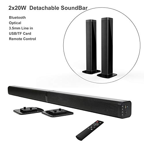 Samtronic 40W Detachable Soundbar TV Speaker, Flat Screen TV Sound Bar Wired & Wireless Bluetooth Sound Bars with Stereo Audio System 3D Surround Sound System Home Theater Speaker with Remote/Optical (3d Sound Surround System)