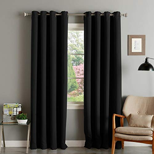 Fairyland 100% Blackout Curtains for Bedroom, Thermal Insulated Room Darkening Drapes for Living Room, Window Treatment with 8 Grommets per Panel,Set of 2 Panels (52 by 95 inch Each, -