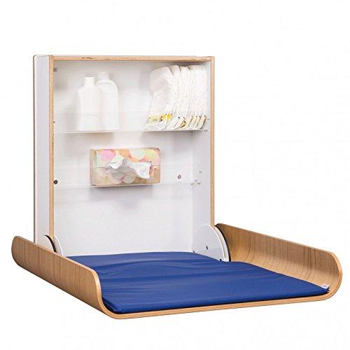 Klappbarer Wickeltisch in Eiche/Weiß mit eingebauten Klappenbremsen und Regalböden