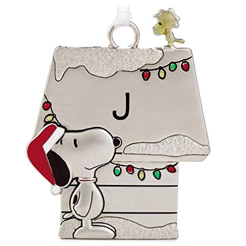 Hallmark Letter Initial J Peanuts Snoopy and Woodstock Charmers Metal Christmas Ornament