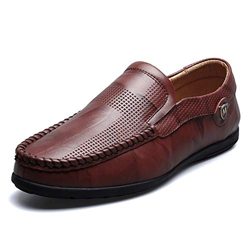 (Mens Classic Genuine Leather Loafers Slip on Breathable Driving Shoes Casual Boat Dress Shoes Dark Brown)