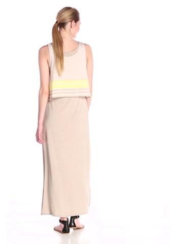 Allison Brittney Womens Sleeveless Scoop-Neck Striped Popover 2fer Maxi Dress