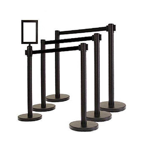 DuraSteel Retractable Belt Stanchions (6 Pcs Set) Heavy Duty Black Tuff Tex with 6.5 Feet Black Belt (6pcs) + Portrait Signframe by Apex