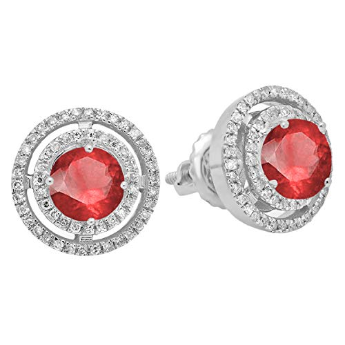 Dazzlingrock Collection 14K Ladies Halo Style Stud Earrings, White Gold