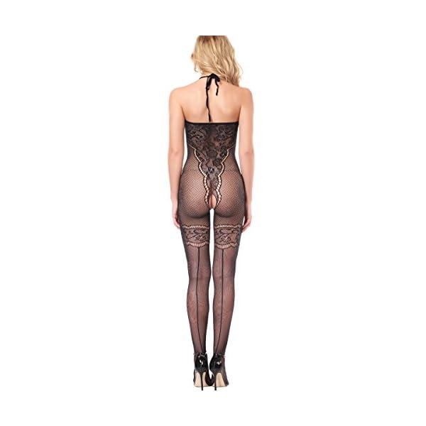 SSScok Bodystocking Femmes Lingerie Ouverte Entrejambe Maille Bas Body Body Nuisette