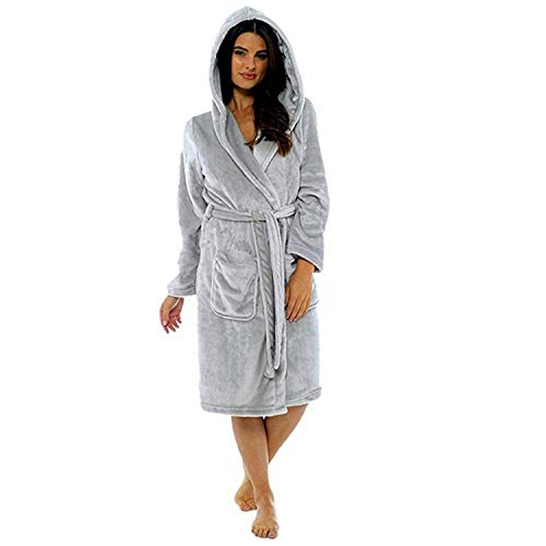 Shooting Cloth Vest (TIFENNY Women's Winter Soft Plush Lengthened Shawl Bathrobe Home Clothes Long Sleeved Robe Coat with Belt)