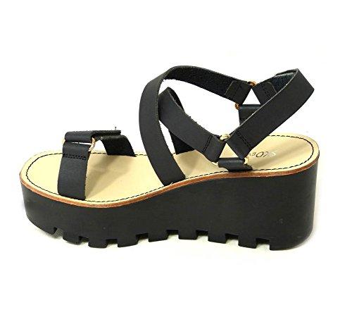 SKO'S Womens Ladies Chunky Sole Platform Summer Sandals Wedges Platform Shoes Size Black (4073-80) QorGIQ