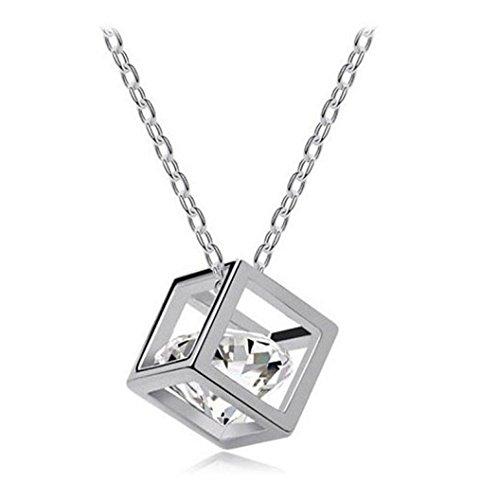 Cuekondy Women Girls Crystal Rhinestone Square Chain Pendant Necklace Statement Jewelry (Diamond Square Strand)