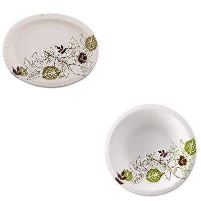 KITDXESX11PLPATHPKDXESXB12WSPK - Value Kit - Dixie Ultra Pathways Heavyweight Oval Platters (DXESX11PLPATHPK) and Dixie Pathways Heavyweight Paper Bowls (DXESXB12WSPK)