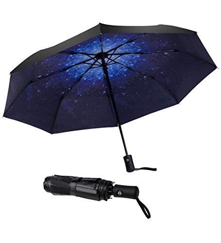 SY COMPACT Windproof Umbrella Automatic Umbrellas Collapsible Compact Umbrella-Starry Sky (Good Umbrella Cheap)