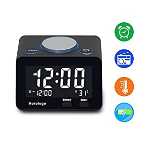 USB Alarm Clock, Digital Alarm Clock Radio With USB Charging Port, Clock,  Alarm, FM Radio, Thermometer And LCD Screen For Bedroom, Kitchen, Hotel,  Table, ...