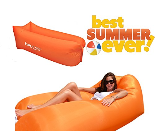 Giant Inflatable Lounger Chair Air Sofa Couch Amazing Beach   Pool Float Perfect For Outdoor Picnic Camping Eazy To Inflate Lazy Bag Hammock With Carry Bag Orange By Funjoya