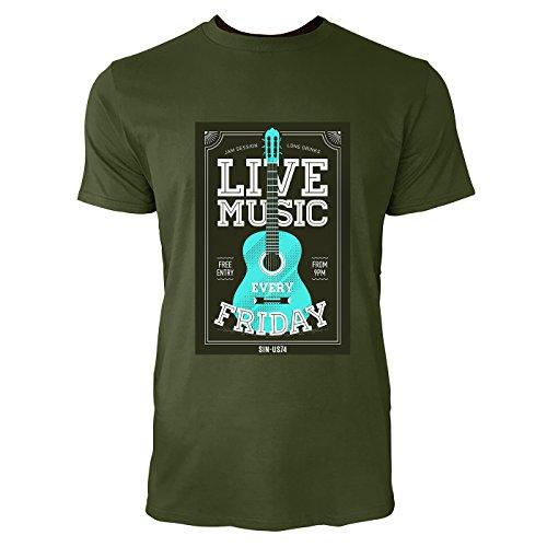 SINUS ART® Gitarre – Live Music Every Friday Herren T-Shirts in Armee Grün Fun Shirt mit tollen Aufdruck