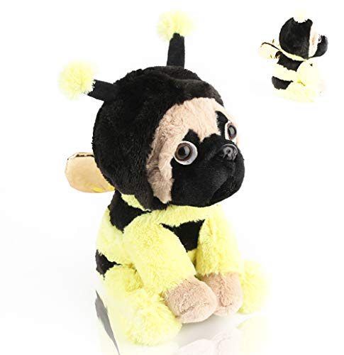 Pugbee Stuffed Animal | Pug Wearing Bee Costume | Plush Soft Dog Puppy Dressed Like Yellow Honey Bee | Funny Toy for Kids or Pug Lovers | Baby Shower, Gender -