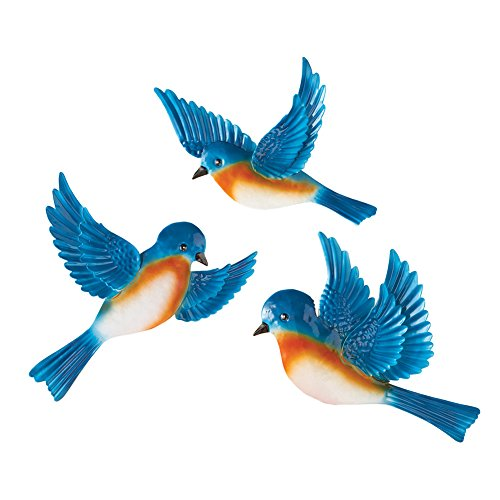 Wall Bluebird (Collections Etc Flying Blue Birds Wall Decor - Set Of 3)