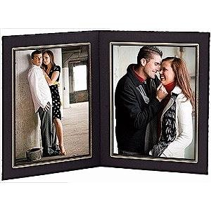 black cardstock double 8x10 photomount folder frame wgold foil border sold in 10s