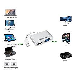 Belinda 2-in-1 Mini DisplayPort to HDMI VGA Cable Adapter Aluminum Case for Apple MacBook Pro, iMac, MacBook Air and Mac Mini