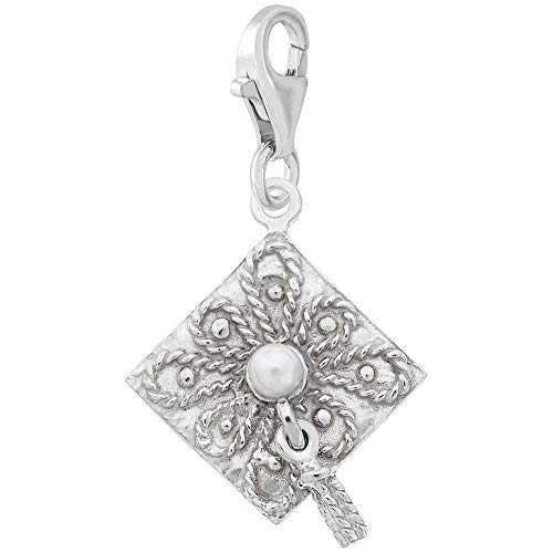 Rembrandt Charms Graduation Cap Charm with Lobster Clasp, Sterling Silver