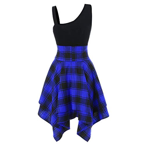 2019 Women's Sleeveless Lace Up Dress Cold Slanted Shoulder Cross Plaid Printed Irregular Stripy Summer Party Dresses (Blue, S) by Aurorax Dress (Image #3)