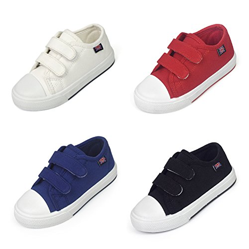 Price comparison product image BENHERO Fashion Sneakers Kids Classic Casual Velcro Canvas Shoes for Boys Girls (Toddler/Little Kid) (12 M US Little Kid, Black)