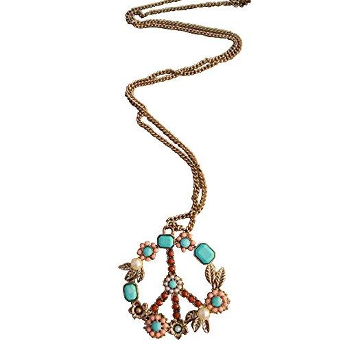 Stream Bohemia Peace Sign Pendant Colorful Beads Necklace Woman Fashion Jewelry (Peace Pendant Necklace)