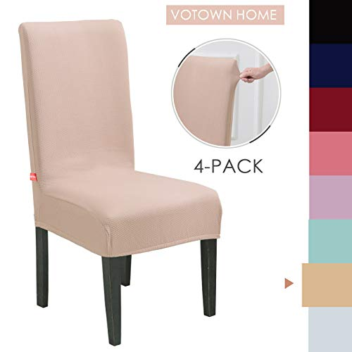 Bed Dining Set Room (Votown Home Dining Room Chair Slipcovers Spandex Stretch Fabric Home Decor Set of 4, Beige)