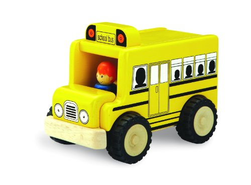 (Wonderworld Unique Design Mini Toy Yellow - Imaginative Play Toy School Bus, Real Rubber Tires + Bonus Driver Included)