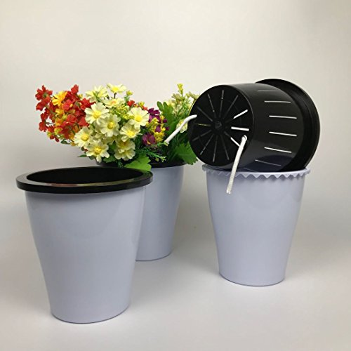 Cheap  3 Pack Self Watering Planter Flower Pot Round Plastic Succulent Container African..