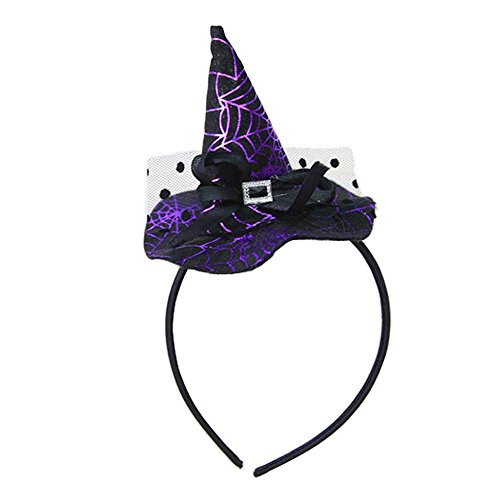 (Headband Hat Hoop Band Headwear Witch Wizard Spiderweb Game Toy for Halloween Christmas Party Cosplay Costume Baby Girls Boys Kids Toddlers (B purple)