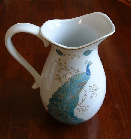 (222 Fifth Serveware Peacock Garden Fine Porcelain Pitcher Jug)